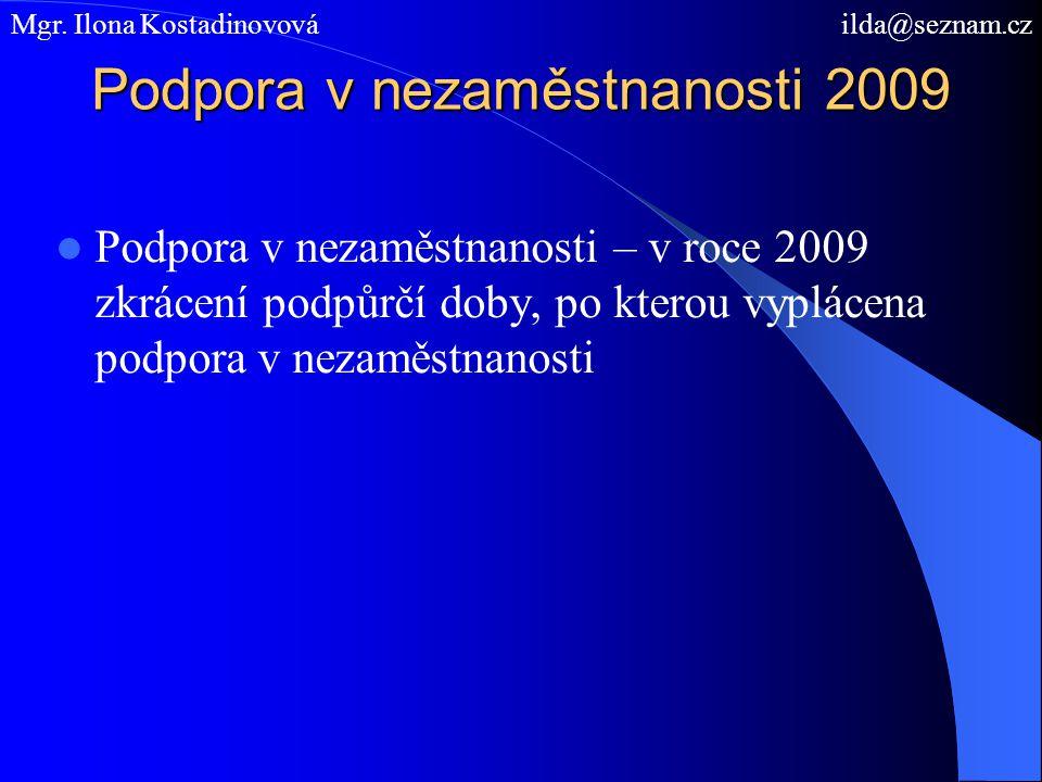 Podpora v nezaměstnanosti 2009 Podpora v nezaměstnanosti – v roce 2009 zkrácení podpůrčí doby, po kterou vyplácena podpora v nezaměstnanosti Mgr. Ilon