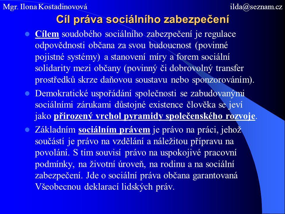 Cíl práva sociálního zabezpečení Cílem soudobého sociálního zabezpečení je regulace odpovědnosti občana za svou budoucnost (povinné pojistné systémy) a stanovení míry a forem sociální solidarity mezi občany (povinný či dobrovolný transfer prostředků skrze daňovou soustavu nebo sponzorováním).