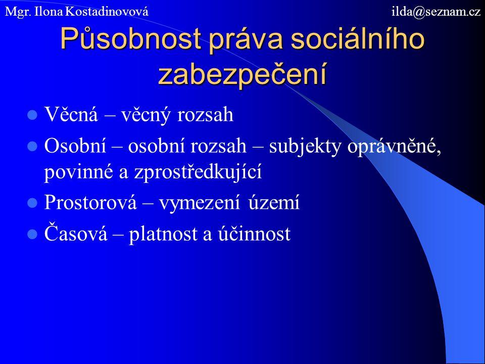 Působnost práva sociálního zabezpečení Věcná – věcný rozsah Osobní – osobní rozsah – subjekty oprávněné, povinné a zprostředkující Prostorová – vymeze