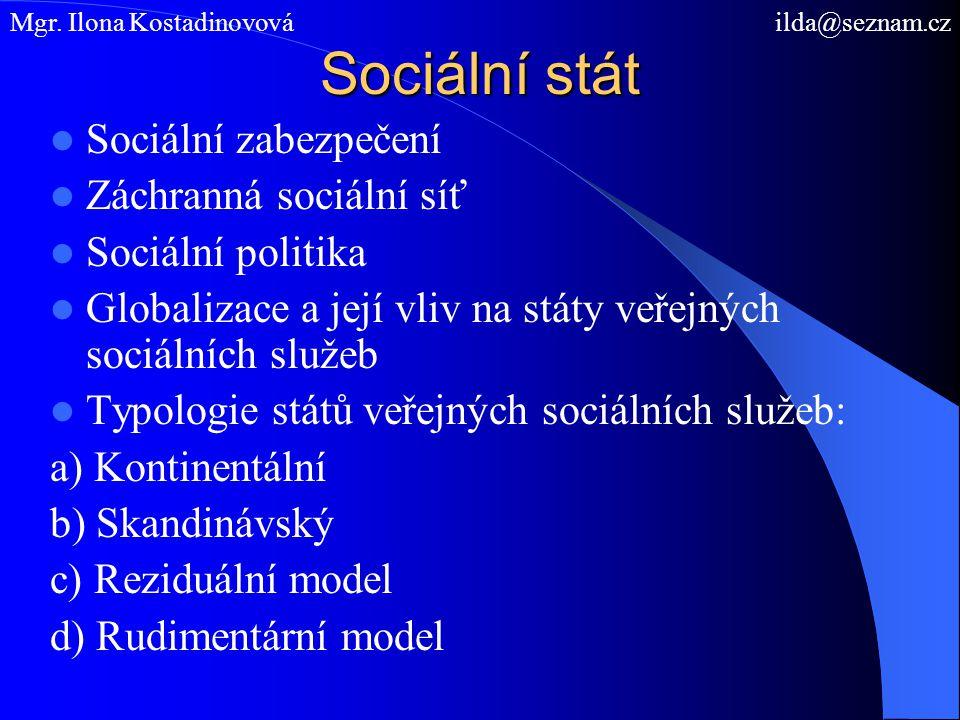 Sociální stát Sociální zabezpečení Záchranná sociální síť Sociální politika Globalizace a její vliv na státy veřejných sociálních služeb Typologie států veřejných sociálních služeb: a) Kontinentální b) Skandinávský c) Reziduální model d) Rudimentární model Mgr.
