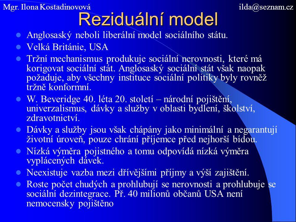 Reziduální model Anglosaský neboli liberální model sociálního státu. Velká Británie, USA Tržní mechanismus produkuje sociální nerovnosti, které má kor