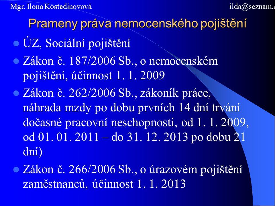 Prameny práva nemocenského pojištění ÚZ, Sociální pojištění Zákon č. 187/2006 Sb., o nemocenském pojištění, účinnost 1. 1. 2009 Zákon č. 262/2006 Sb.,