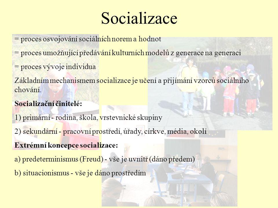 = proces osvojování sociálních norem a hodnot = proces umožňující předávání kulturních modelů z generace na generaci = proces vývoje individua Základn
