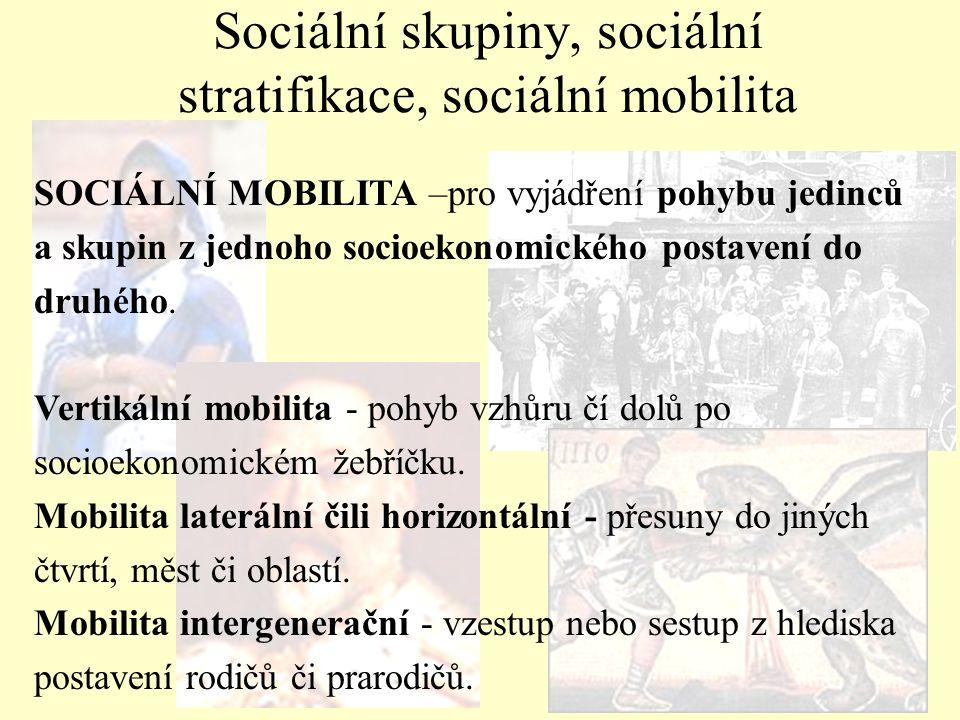 Sociální skupiny, sociální stratifikace, sociální mobilita SOCIÁLNÍ MOBILITA –pro vyjádření pohybu jedinců a skupin z jednoho socioekonomického postav