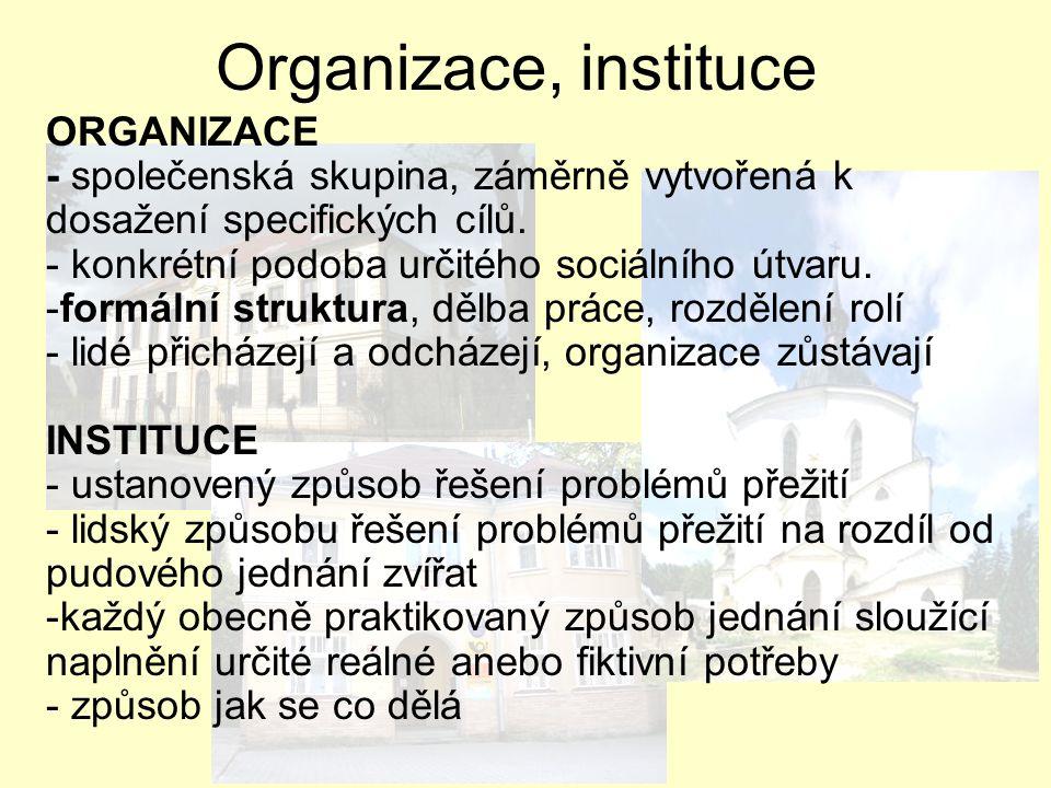 ORGANIZACE - společenská skupina, záměrně vytvořená k dosažení specifických cílů. - konkrétní podoba určitého sociálního útvaru. -formální struktura,