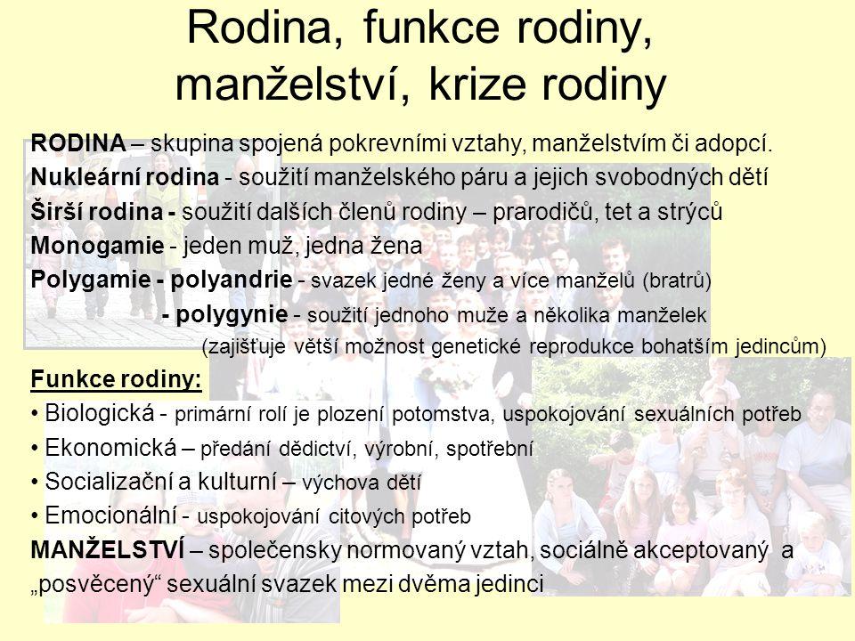 RODINA – skupina spojená pokrevními vztahy, manželstvím či adopcí. Nukleární rodina - soužití manželského páru a jejich svobodných dětí Širší rodina -
