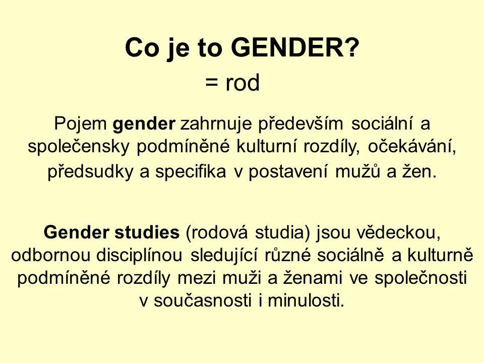Co je to GENDER? Pojem gender zahrnuje především sociální a společensky podmíněné kulturní rozdíly, očekávání, předsudky a specifika v postavení mužů