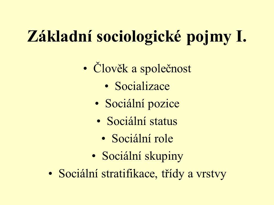 Základní sociologické pojmy I. Člověk a společnost Socializace Sociální pozice Sociální status Sociální role Sociální skupiny Sociální stratifikace, t
