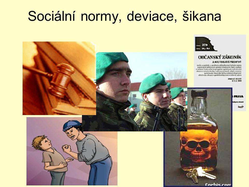 Sociální normy, deviace, šikana