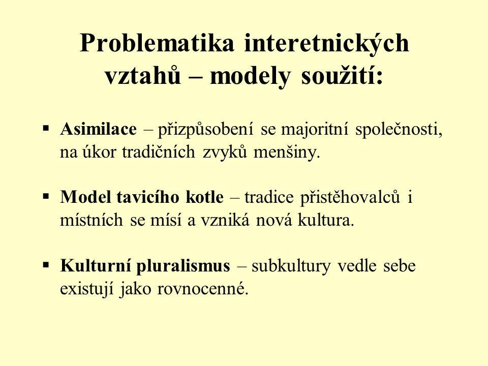 Problematika interetnických vztahů – modely soužití:  Asimilace – přizpůsobení se majoritní společnosti, na úkor tradičních zvyků menšiny.  Model ta