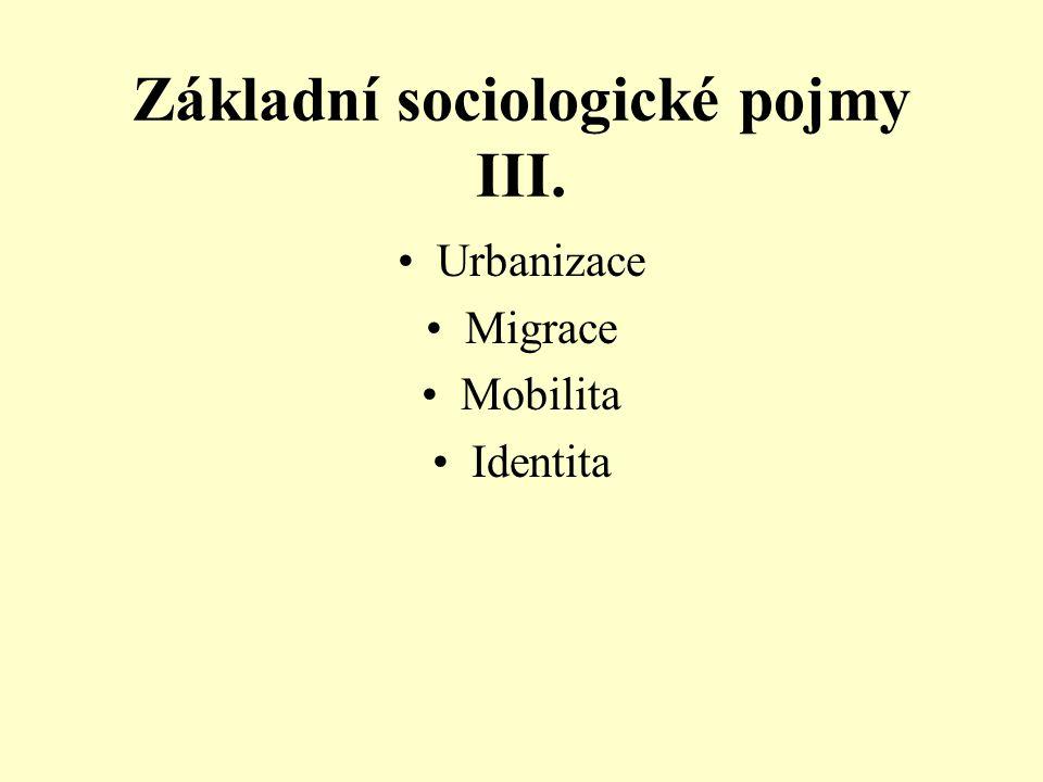 Základní sociologické pojmy III. Urbanizace Migrace Mobilita Identita