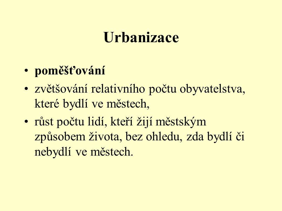 Urbanizace poměšťování zvětšování relativního počtu obyvatelstva, které bydlí ve městech, růst počtu lidí, kteří žijí městským způsobem života, bez oh