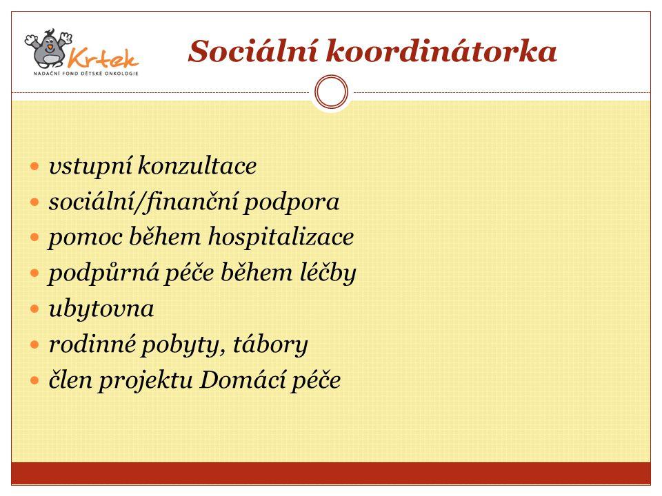 Sociální koordinátorka vstupní konzultace sociální/finanční podpora pomoc během hospitalizace podpůrná péče během léčby ubytovna rodinné pobyty, tábory člen projektu Domácí péče