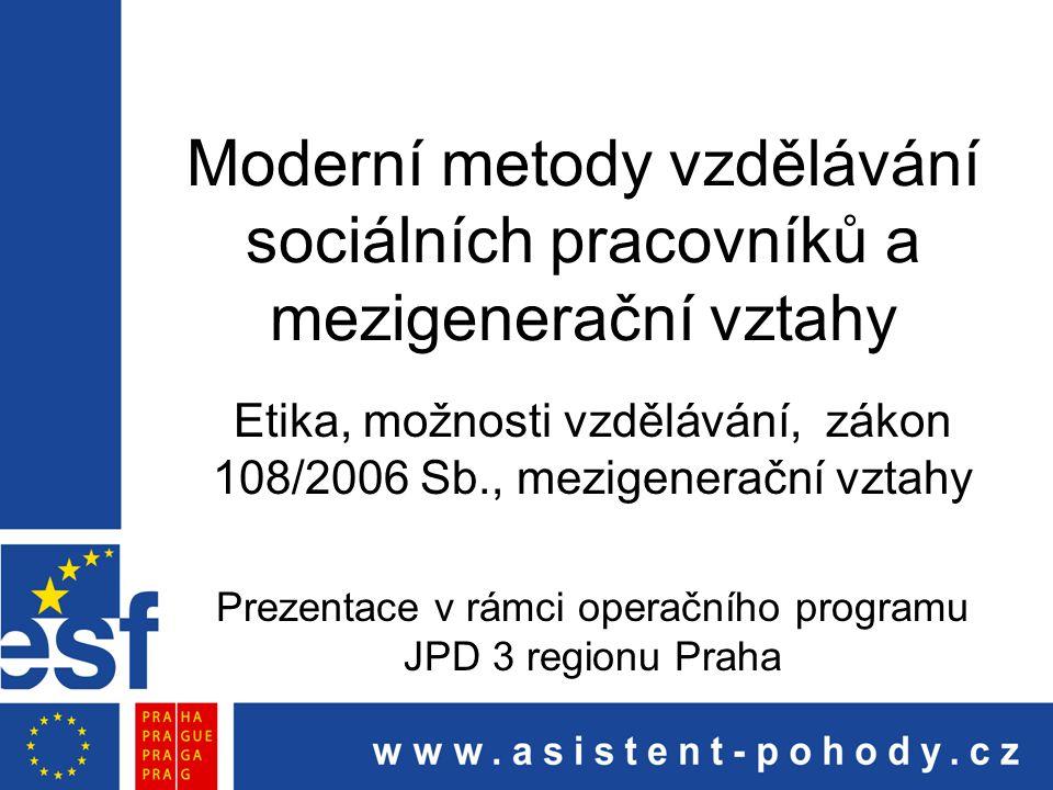 Moderní metody vzdělávání sociálních pracovníků a mezigenerační vztahy Etika, možnosti vzdělávání, zákon 108/2006 Sb., mezigenerační vztahy Prezentace
