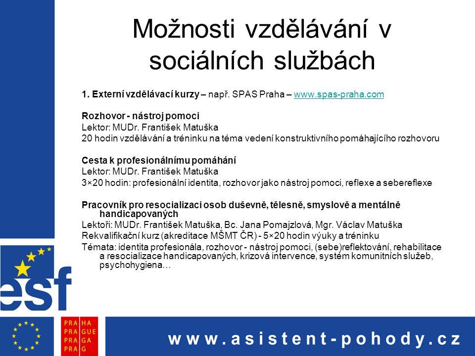 Možnosti vzdělávání v sociálních službách 1. Externí vzdělávací kurzy – např. SPAS Praha – www.spas-praha.comwww.spas-praha.com Rozhovor - nástroj pom