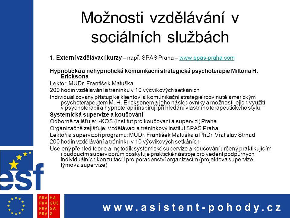 Možnosti vzdělávání v sociálních službách 1. Externí vzdělávací kurzy – např. SPAS Praha – www.spas-praha.comwww.spas-praha.com Hypnotická a nehypnoti