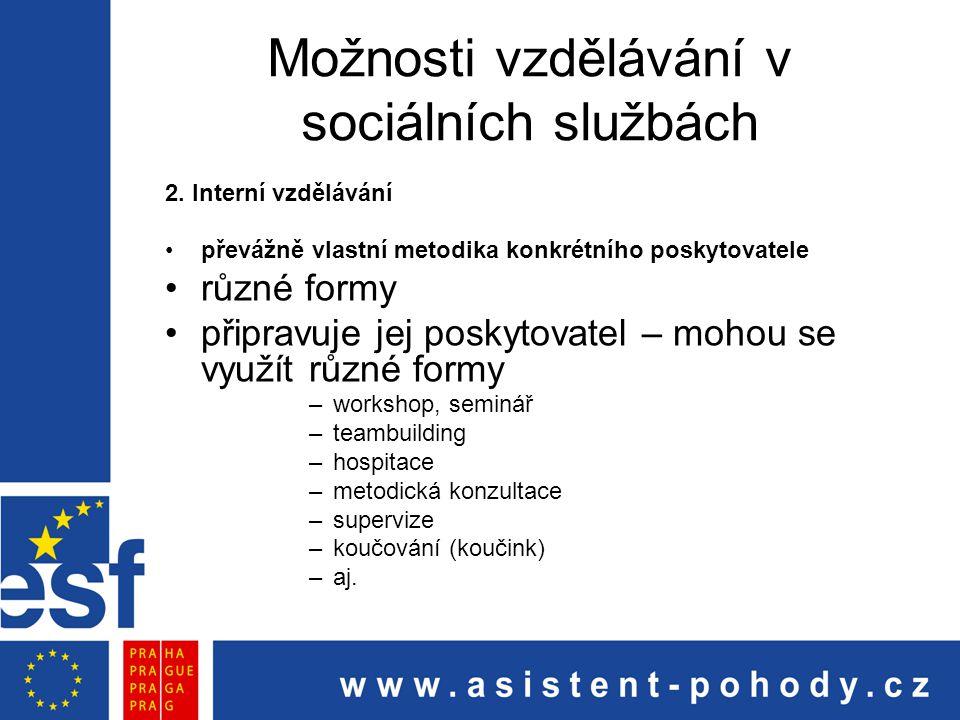 Možnosti vzdělávání v sociálních službách 2. Interní vzdělávání převážně vlastní metodika konkrétního poskytovatele různé formy připravuje jej poskyto