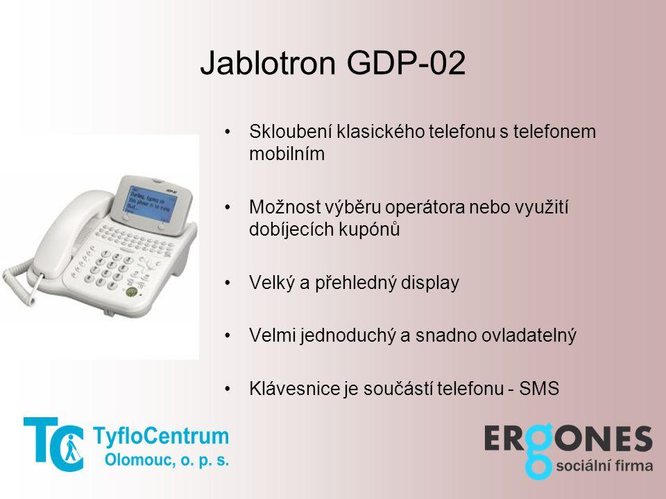 Jablotron GDP-02 Skloubení klasického telefonu s telefonem mobilním Možnost výběru operátora nebo využití dobíjecích kupónů Velký a přehledný display Velmi jednoduchý a snadno ovladatelný Klávesnice je součástí telefonu - SMS