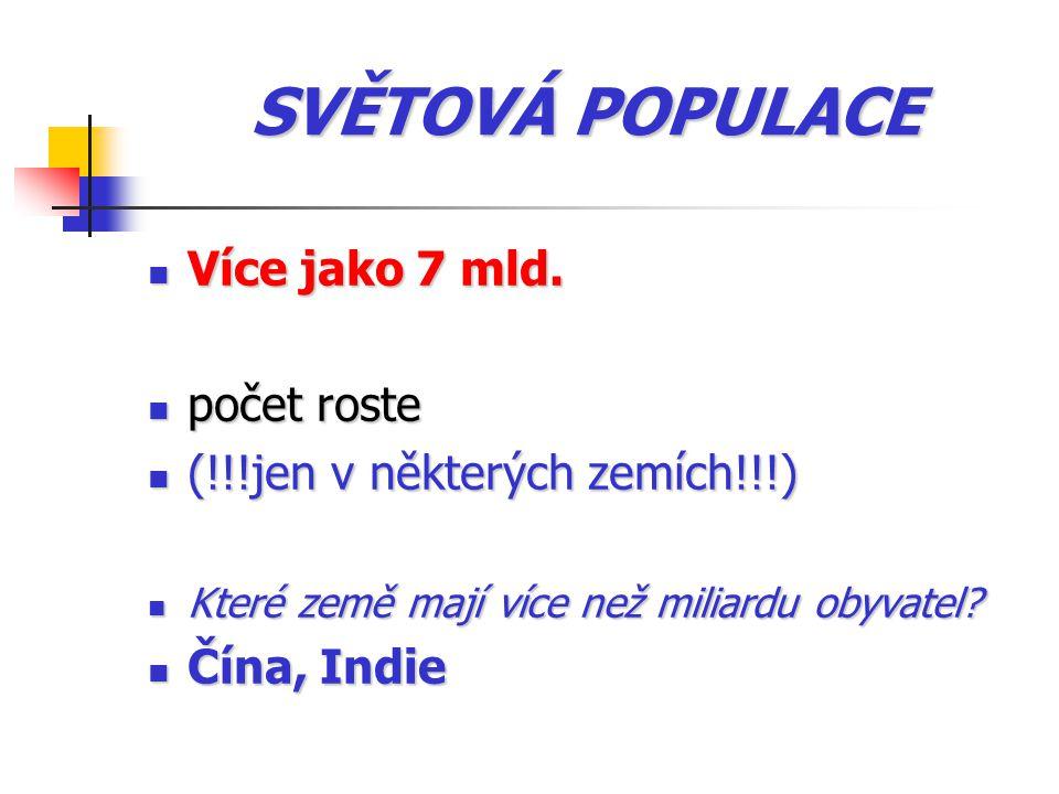 SVĚTOVÁ POPULACE Více jako 7 mld.Více jako 7 mld.