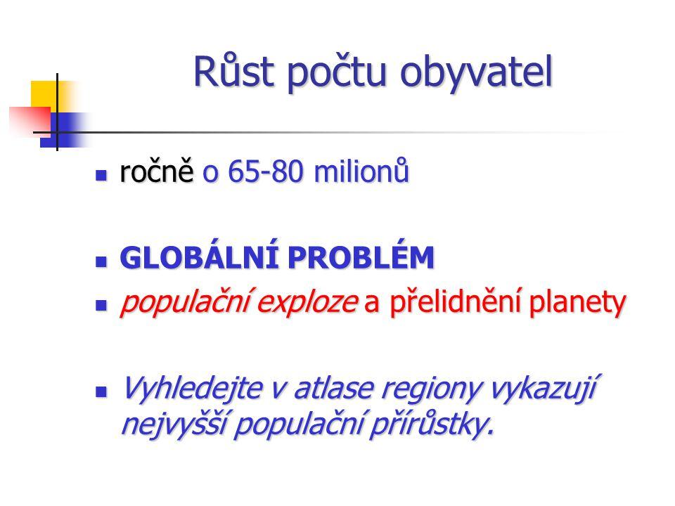 Růst počtu obyvatel ročně o 65-80 milionů ročně o 65-80 milionů GLOBÁLNÍ PROBLÉM GLOBÁLNÍ PROBLÉM populační exploze a přelidnění planety populační exploze a přelidnění planety Vyhledejte v atlase regiony vykazují nejvyšší populační přírůstky.