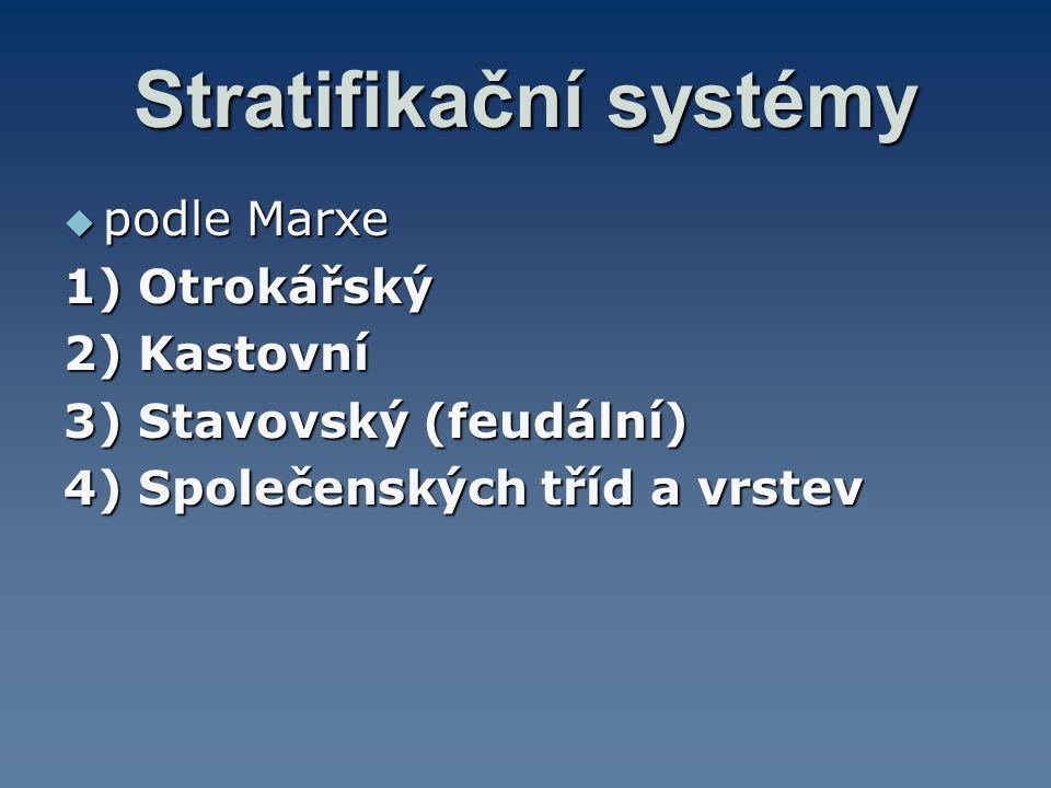 Stratifikační systémy  podle Marxe 1) Otrokářský 2) Kastovní 3) Stavovský (feudální) 4) Společenských tříd a vrstev