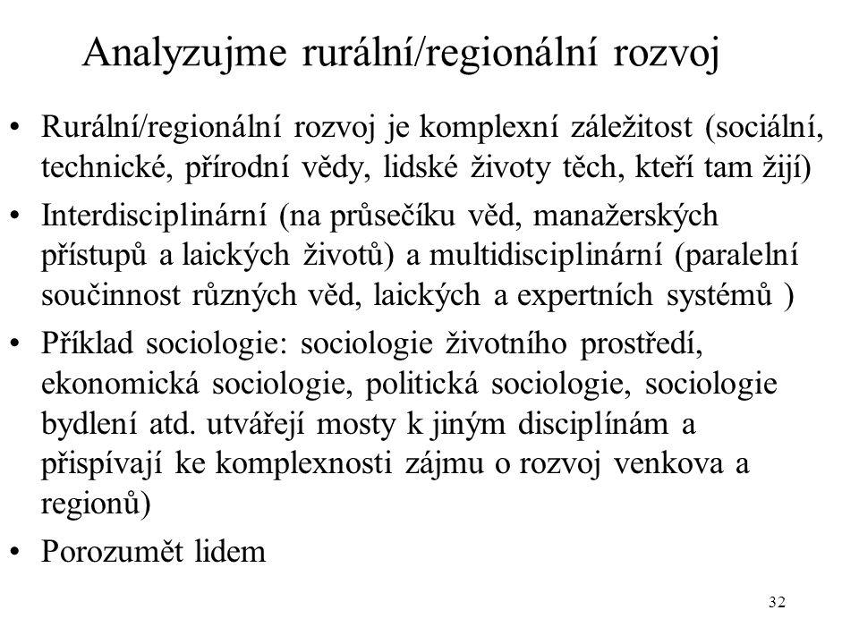 32 Analyzujme rurální/regionální rozvoj Rurální/regionální rozvoj je komplexní záležitost (sociální, technické, přírodní vědy, lidské životy těch, kteří tam žijí) Interdisciplinární (na průsečíku věd, manažerských přístupů a laických životů) a multidisciplinární (paralelní součinnost různých věd, laických a expertních systémů ) Příklad sociologie: sociologie životního prostředí, ekonomická sociologie, politická sociologie, sociologie bydlení atd.