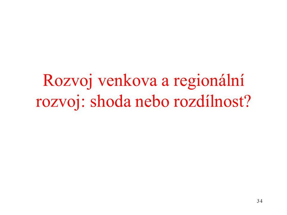 34 Rozvoj venkova a regionální rozvoj: shoda nebo rozdílnost?