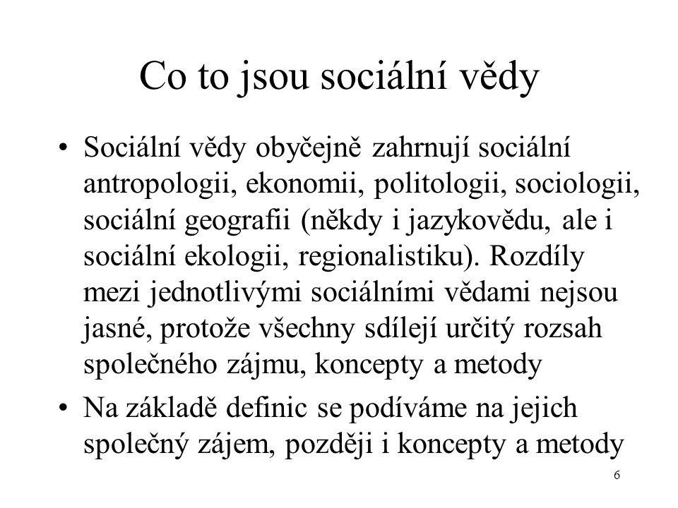 6 Co to jsou sociální vědy Sociální vědy obyčejně zahrnují sociální antropologii, ekonomii, politologii, sociologii, sociální geografii (někdy i jazykovědu, ale i sociální ekologii, regionalistiku).