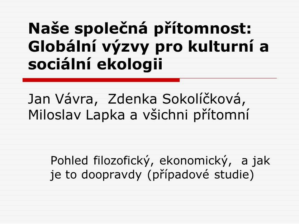 Pět tezí kulturní ekologie Miloslav Lapka, Zdenka Sokolíčková, Jan Vávra