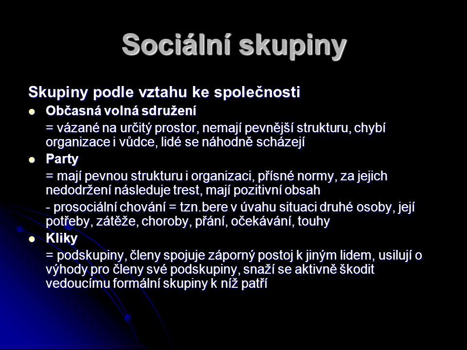 Sociální skupiny Skupiny podle vztahu ke společnosti Občasná volná sdružení Občasná volná sdružení = vázané na určitý prostor, nemají pevnější struktu
