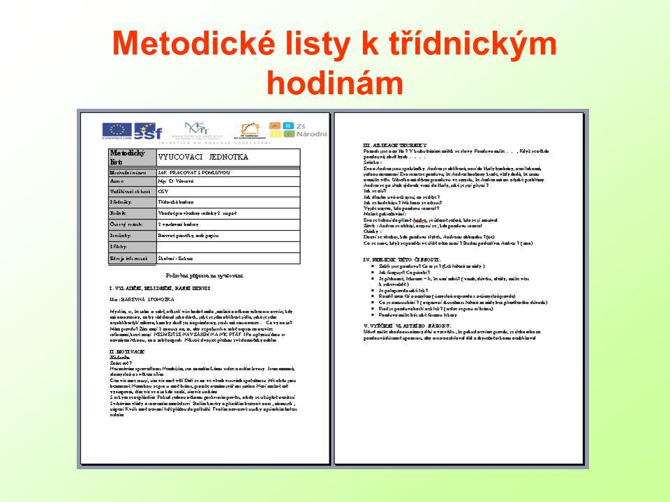 Metodické listy k třídnickým hodinám