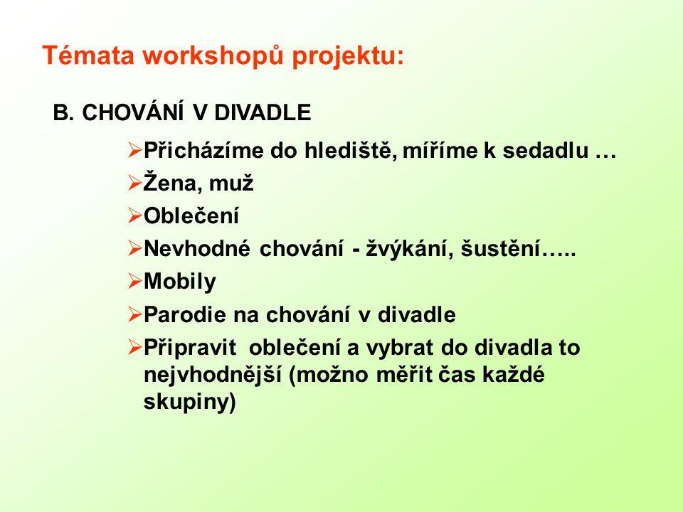 Témata workshopů projektu:  Přicházíme do hlediště, míříme k sedadlu …  Žena, muž  Oblečení  Nevhodné chování - žvýkání, šustění…..
