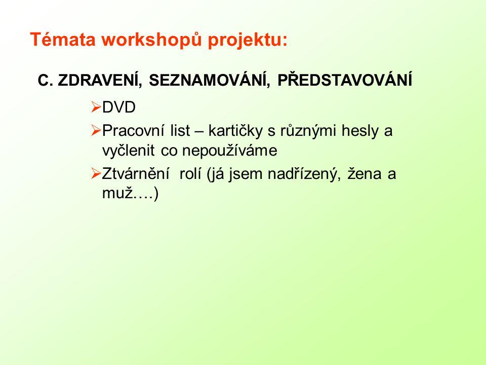 Témata workshopů projektu:  DVD  Pracovní list – kartičky s různými hesly a vyčlenit co nepoužíváme  Ztvárnění rolí (já jsem nadřízený, žena a muž….) C.