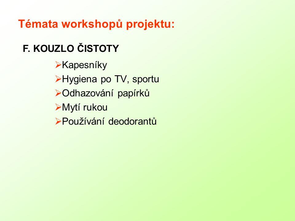 Témata workshopů projektu:  Kapesníky  Hygiena po TV, sportu  Odhazování papírků  Mytí rukou  Používání deodorantů F.