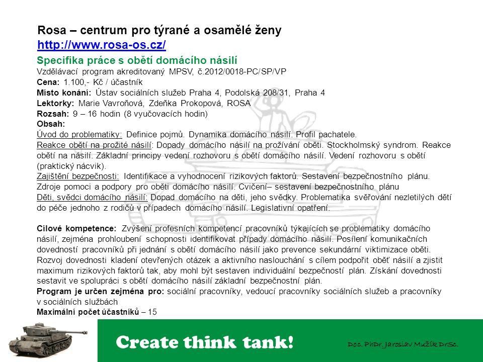 Create think tank! Doc. PhDr. Jaroslav Mužík DrSc. Rosa – centrum pro týrané a osamělé ženy http://www.rosa-os.cz/ Specifika práce s obětí domácího ná