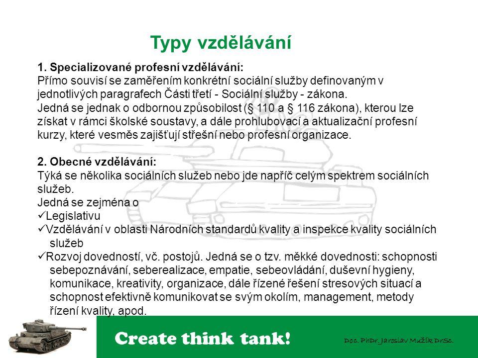 Create think tank! Doc. PhDr. Jaroslav Mužík DrSc. 1. Specializované profesní vzdělávání: Přímo souvisí se zaměřením konkrétní sociální služby definov
