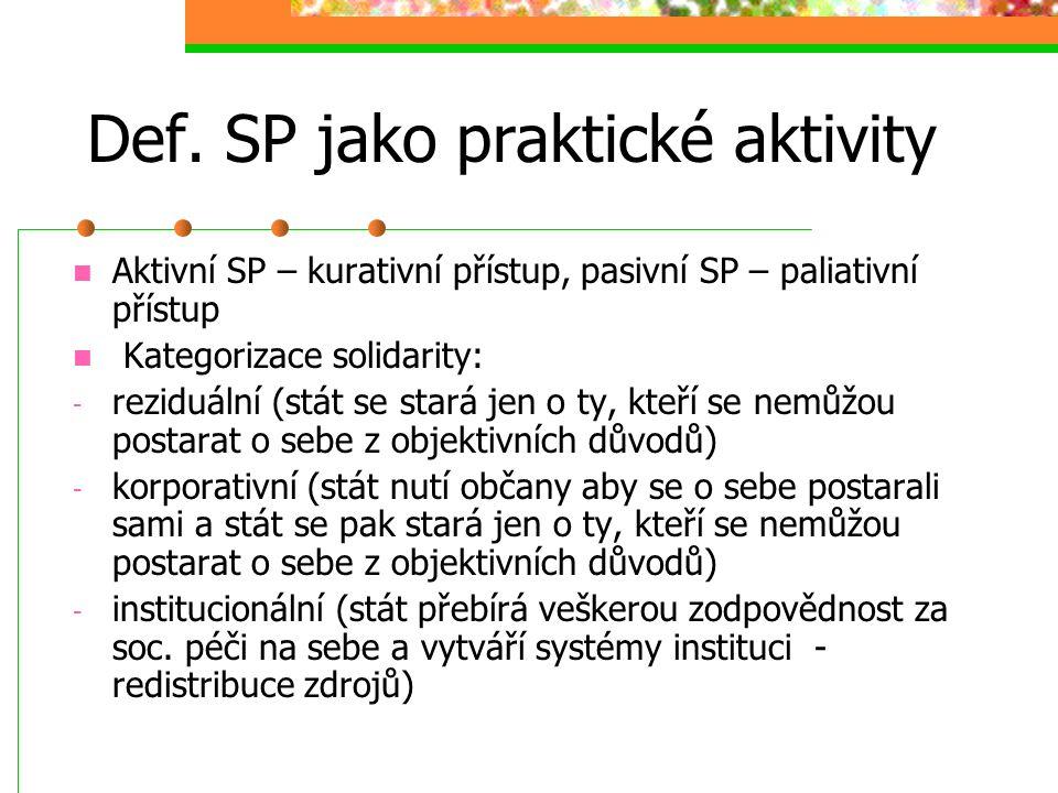 Def. SP jako praktické aktivity Mishra – SP jsou ty sociální dohody, mechanismy a opatření, které souvisejí s distribuci zdrojů dle určitých kritérií