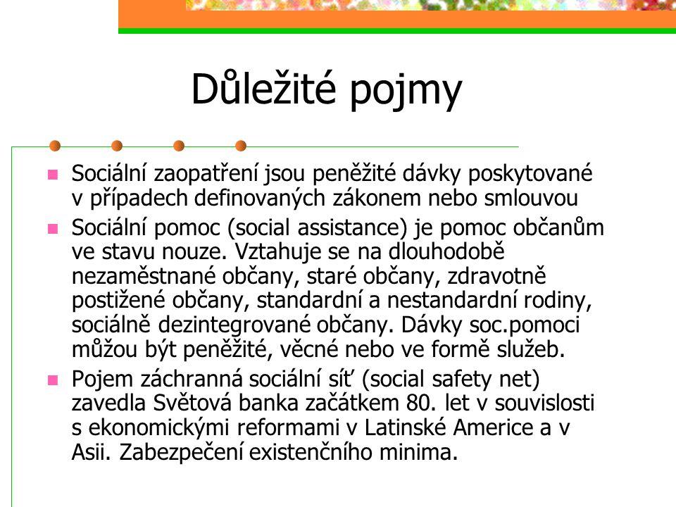 Důležité pojmy Sociální péče (social welfare), vznikl v průběhu 2. sv. války, dle Pusice je to souhrn opatření, která společnost vyvinula, aby zvládla