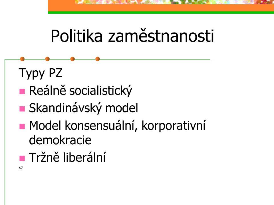 Politika zaměstnanosti Aktivní – pasivní PZ Instituce: Ministerstvo práce, tripartita (stát+zaměstnavatele+zaměstnanci – odbory), úřady práce