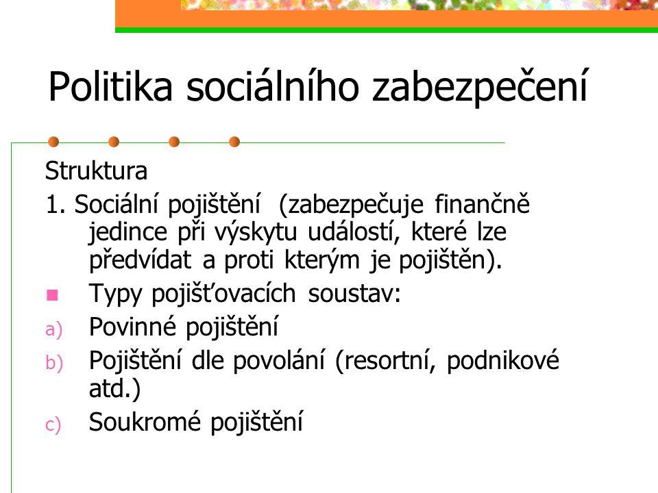 Politika sociálního zabezpečení (soustavy SB dle způsobu financování) Přerozdělováni prostřednictvímVeřejných rozpočtů (daně)Pojišťovacích fondů Princ