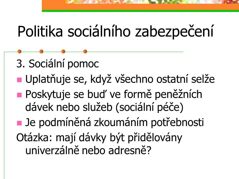 Politika sociálního zabezpečení 2. Státní sociální podpora Váže se na sociální situace, ne něž se nebývá možné se předem připravit (mateřství, výchova