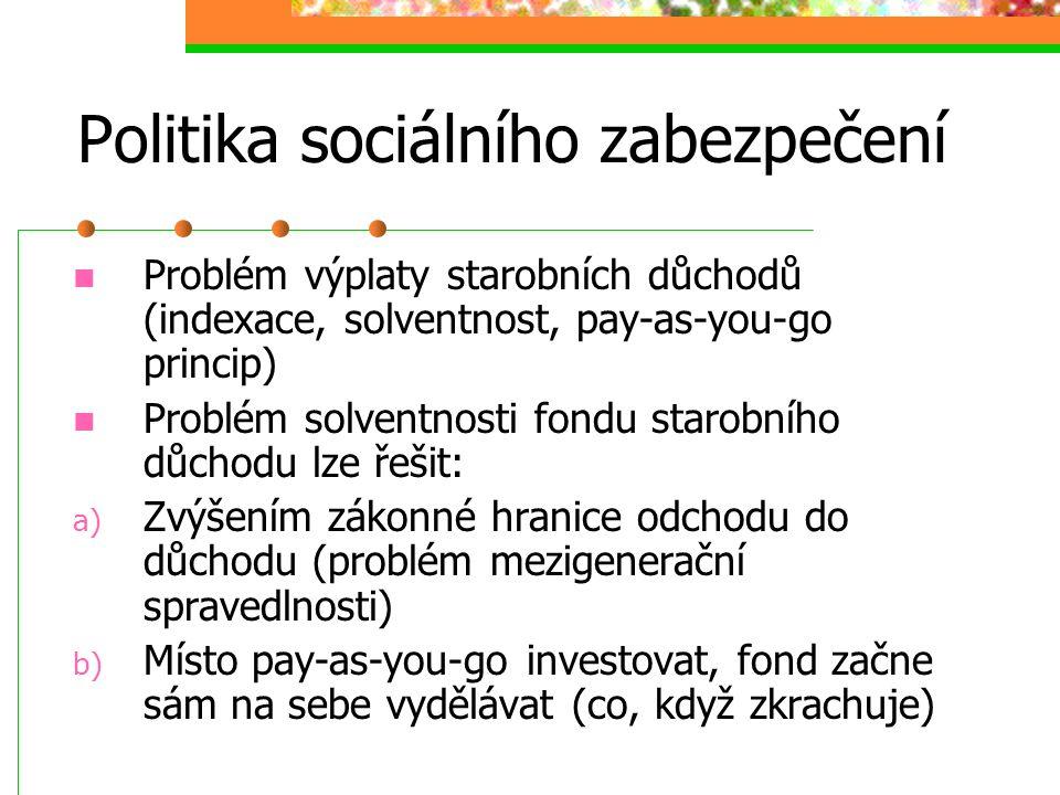 Politika sociálního zabezpečení 3. Sociální pomoc Uplatňuje se, když všechno ostatní selže Poskytuje se buď ve formě peněžních dávek nebo služeb (soci