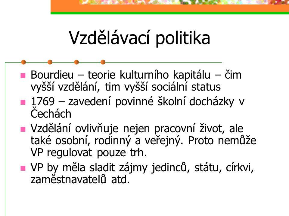 Vzdělávací politika Jak zajistit demokratizaci vzdělání: a) Princip pozitivní diskriminace b) Demokratický princip c) Meritokratický princip (intelekt