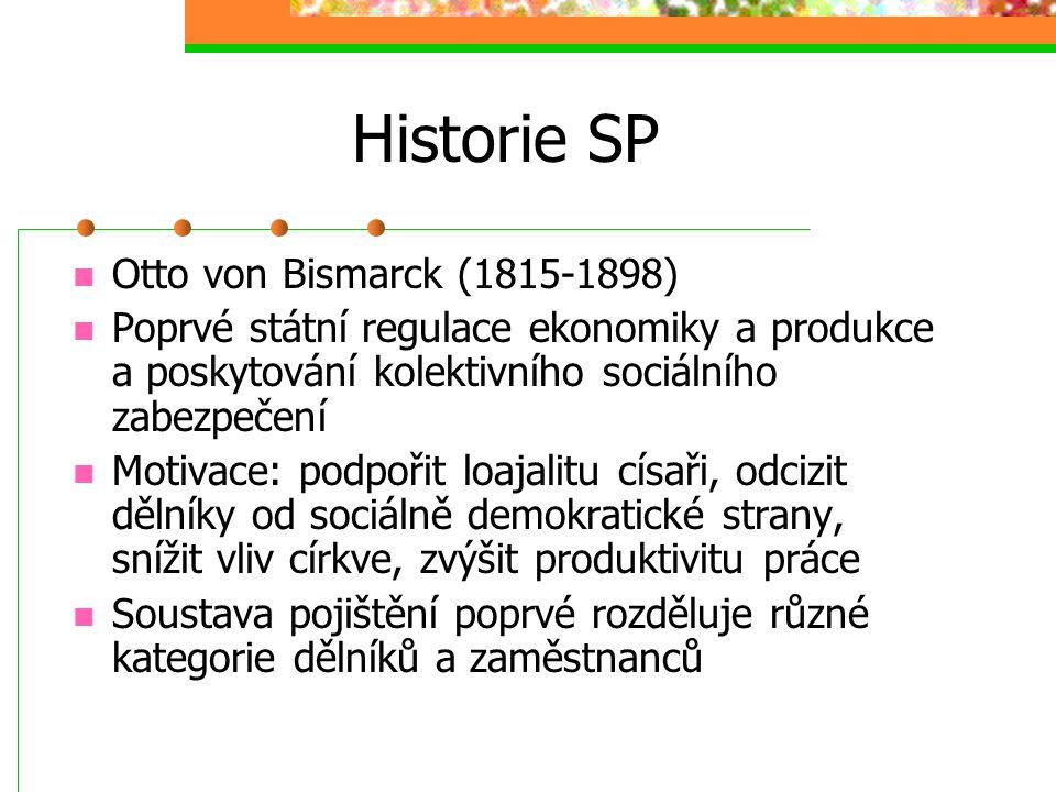 Historie SP Otto von Bismarck (1815-1898) Poprvé státní regulace ekonomiky a produkce a poskytování kolektivního sociálního zabezpečení Motivace: podpořit loajalitu císaři, odcizit dělníky od sociálně demokratické strany, snížit vliv církve, zvýšit produktivitu práce Soustava pojištění poprvé rozděluje různé kategorie dělníků a zaměstnanců