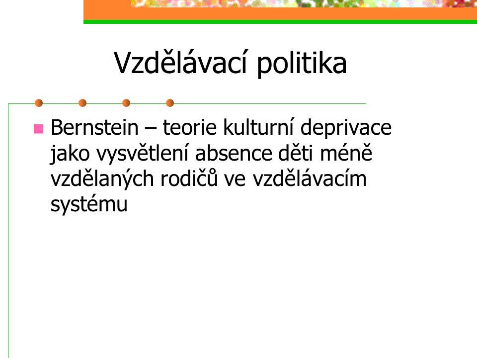 Vzdělávací politika Funkce vzdělávání dle Alana, Kalába a Reimera: 1. Profesionalizační 2. Kulturační 3. Ideační 4. Socializační 5. Opatrovnická 6. Se