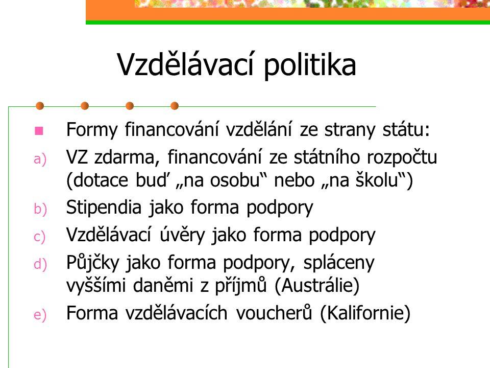 Vzdělávací politika Struktura vzdělávání: Jesle, mateřská škola, základní stupeň, střední školy (gymnázia, SOŠ, SOU), vysoké školy, doplňkové formy st