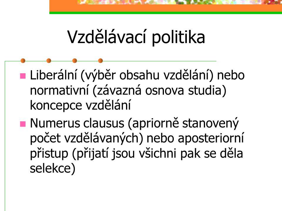 """Vzdělávací politika Formy financování vzdělání ze strany státu: a) VZ zdarma, financování ze státního rozpočtu (dotace buď """"na osobu"""" nebo """"na školu"""")"""