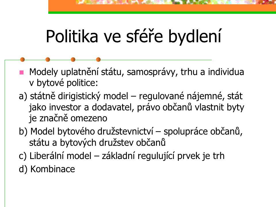 Politika ve sféře bydlení Cílová populace dle a) rodin různého typů (jedno-dvou- třígenerační) b) jednotlivců (bydlení spjaté s přípravou na povolání