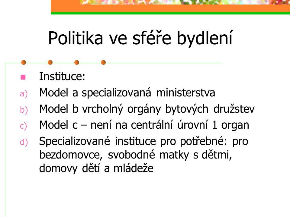 Politika ve sféře bydlení Modely uplatnění státu, samosprávy, trhu a individua v bytové politice: a) státně dirigistický model – regulované nájemné, s