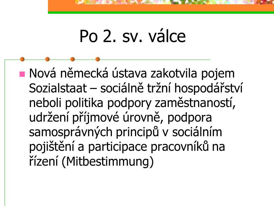 Přehled vývoje sociální politiky v Německu Do 1. sv. války: 1870. Vznikl Úřad pro sociální politiku, 1889 zavedeno starobní a invalidní pojištění Výma